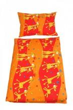 Obliečky do detskej postieľky, ŽIRAFA ORANŽOVÁ, 100% bavlna