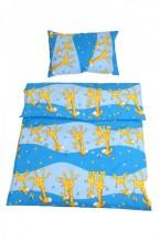 Obliečky do detskej postieľky, ŽIRAFA MODRÁ, 100% bavlna