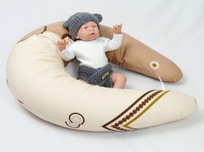 Dojčiaci vankúš MAXI KOLIESKA HNEDÉ, 100% bavlna